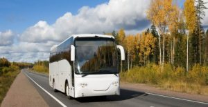 tourist bus, autumn, highway Scandinavia