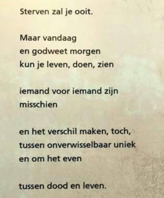 Sterven Zal Je Ooit Gedicht Van Huub Oosterhuis
