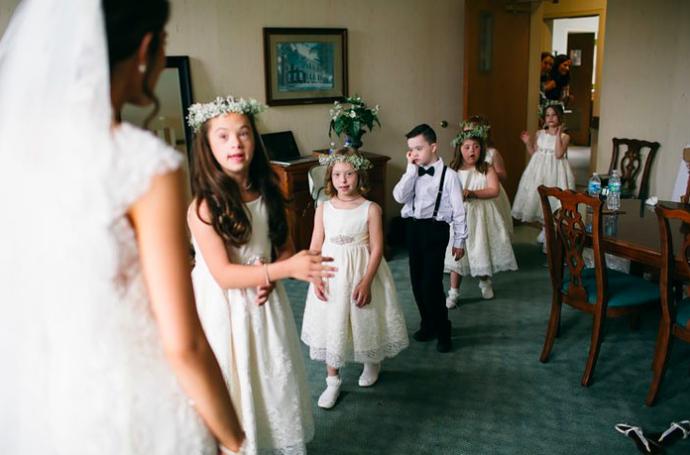 Kinderen Met Down Maken Bruiloft Lerares Onvergetelijk