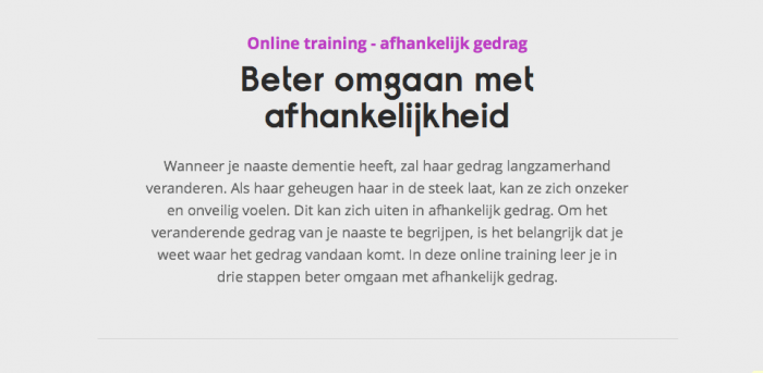 Online Training Veranderend Gedrag Bij Dementie – Afhankelijk Gedrag