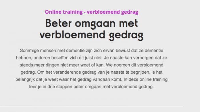 Online Training Veranderend Gedrag Bij Dementie – Verbloemend Gedrag