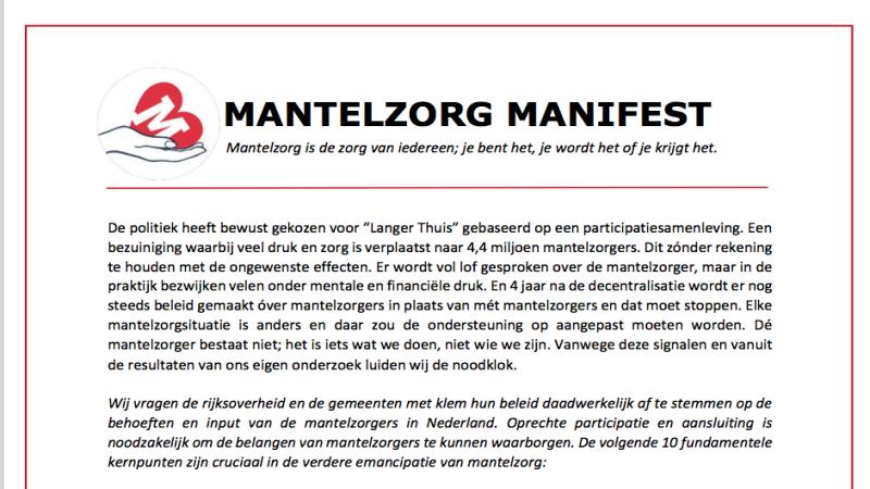 Mantelzorgers Luiden Noodklok Met Manifest